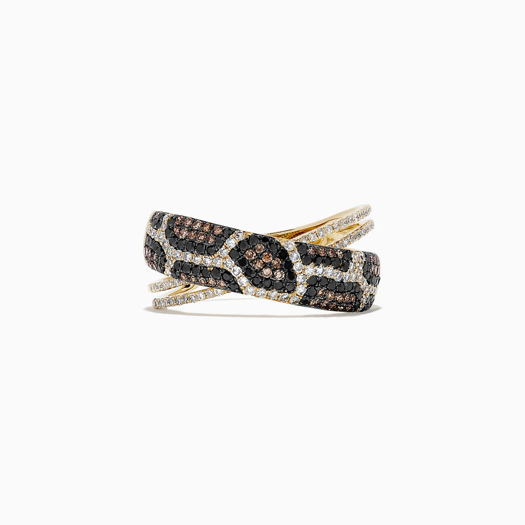 Effy 14K Yellow Gold Espresso, Black and White Diamond Ring, 0.76 TCW