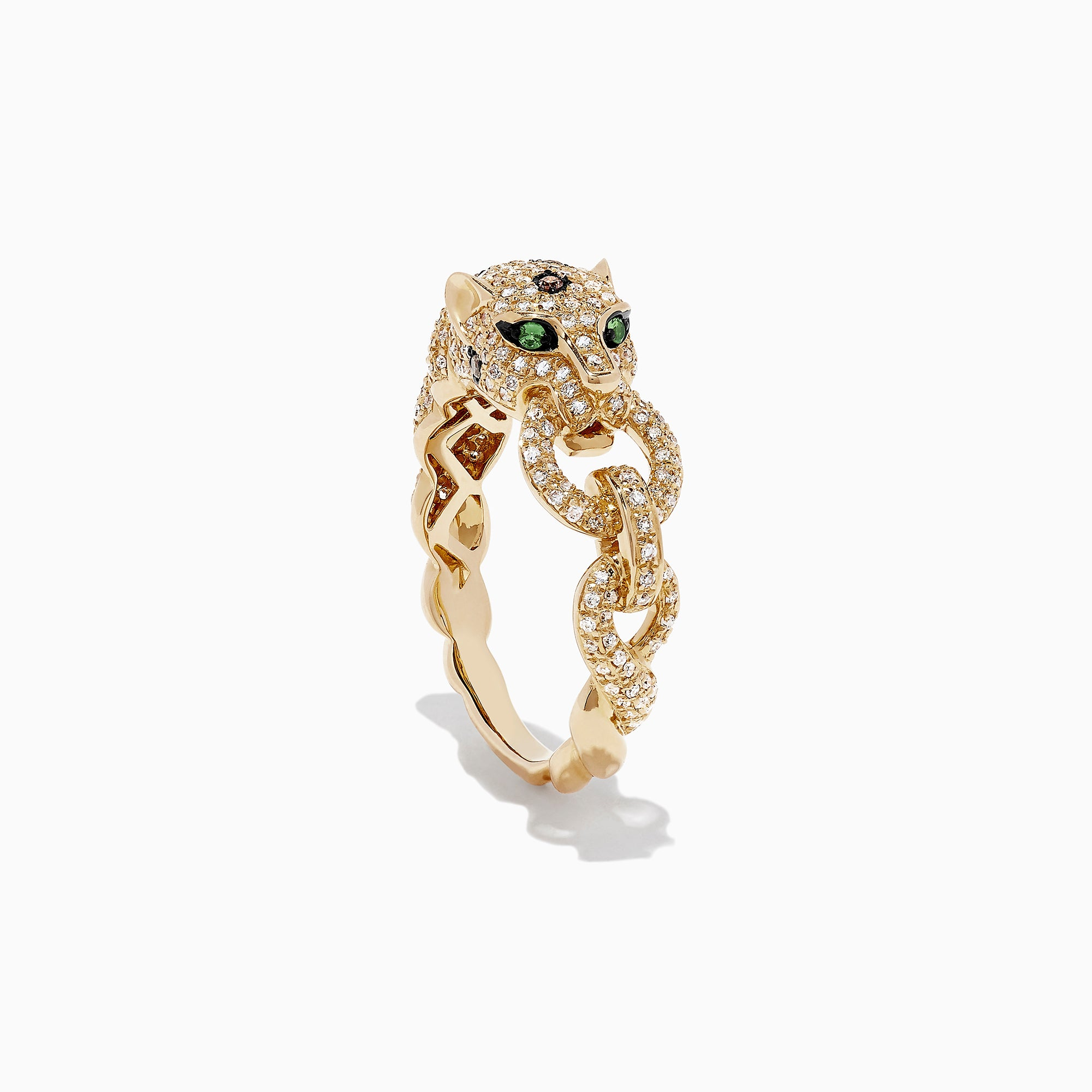 Effy Signature 14K Yellow Gold Diamond and Tsavorite Panther Ring, 0.84 TCW