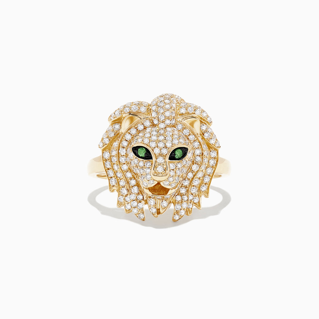 Effy Safari 14K Yellow Gold Diamond and Tsavorite Lion Head Ring, 0.69 TCW