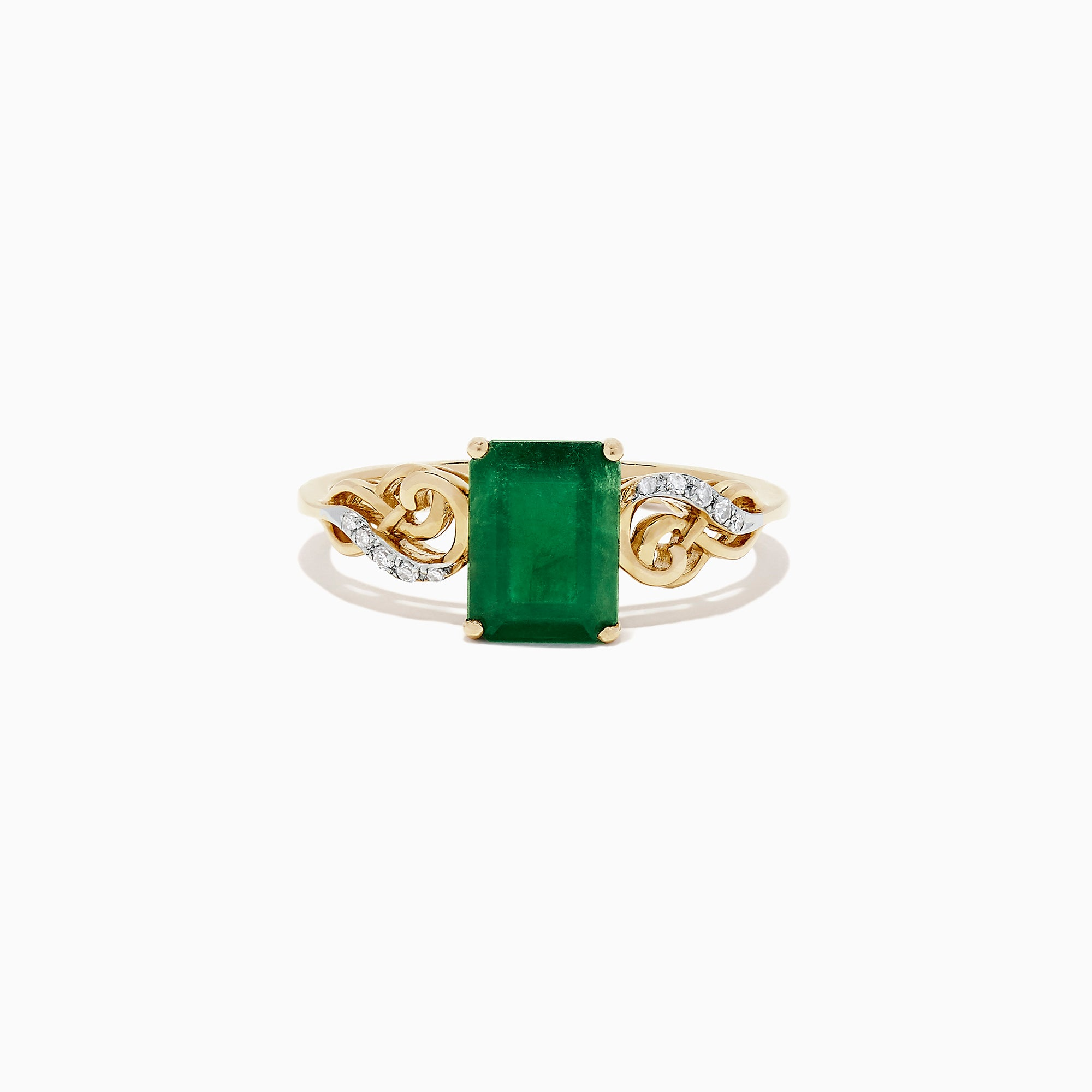 Effy 14K Yellow Gold Emerald and Diamond Ring, 1.46 TCW