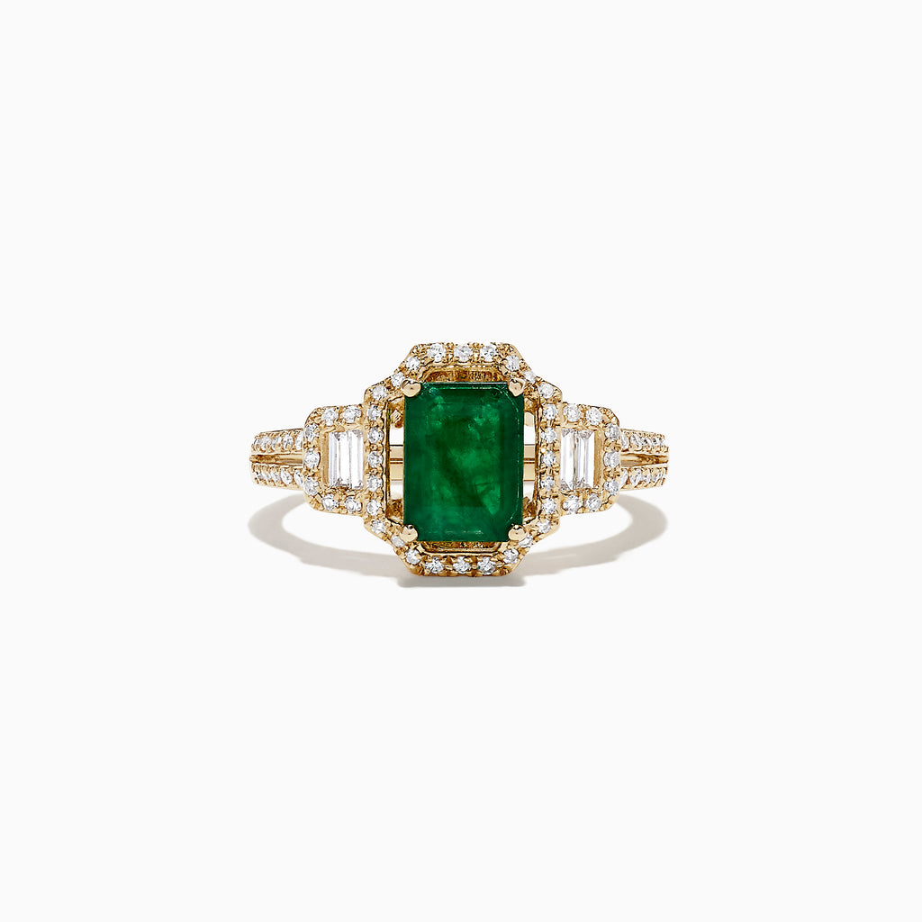 Effy Brasilica 14K Yellow Gold Emerald and Diamond Ring, 1.70 TCW