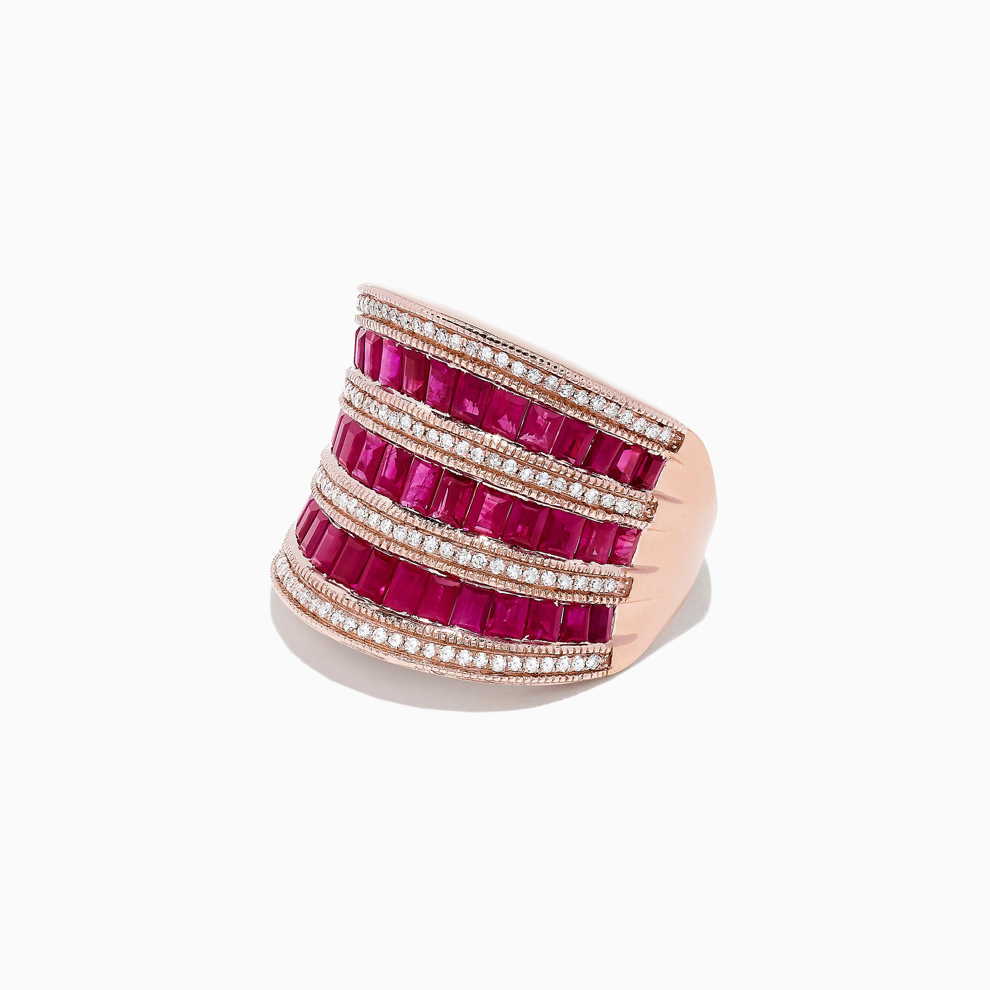 Effy Ruby Royale 14K Rose Gold Ruby and Diamond Ring, 3.78 TCW