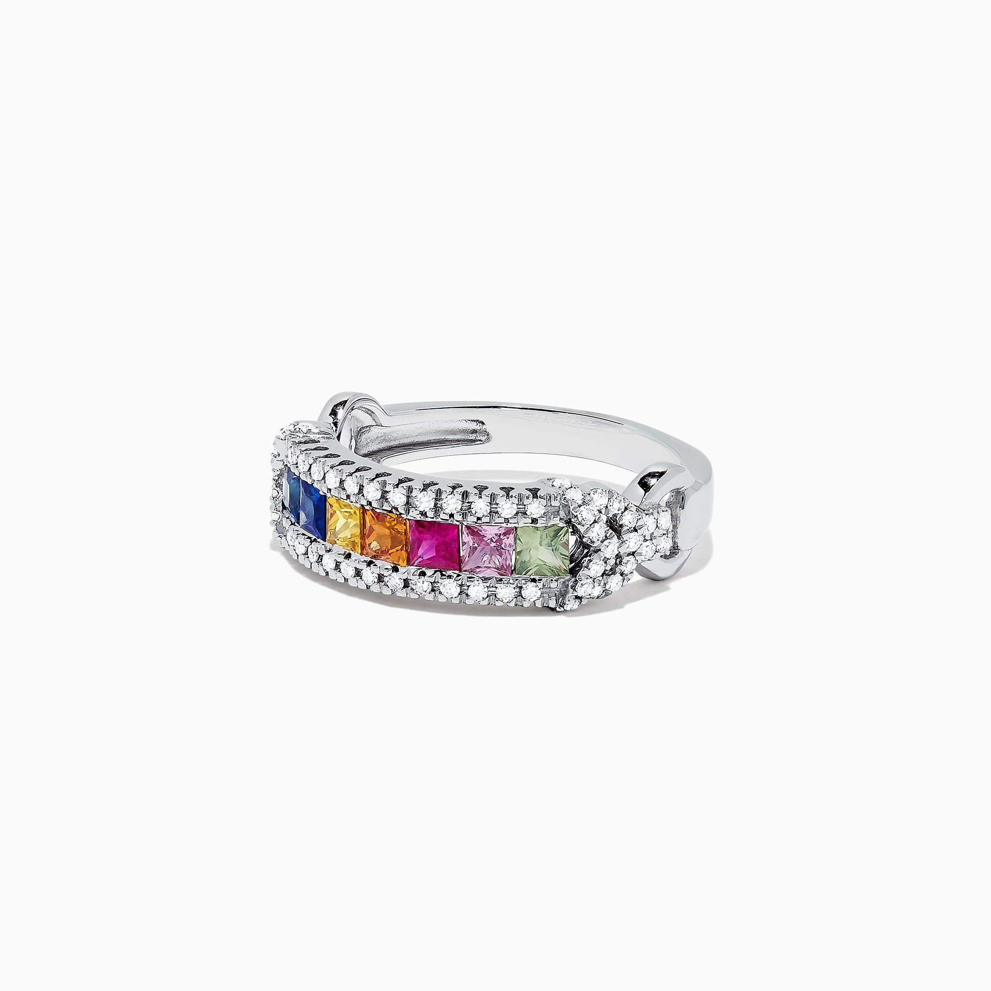 Effy Watercolors 14K White Gold Multi Sapphire and Diamond Ring, 1.18 TCW