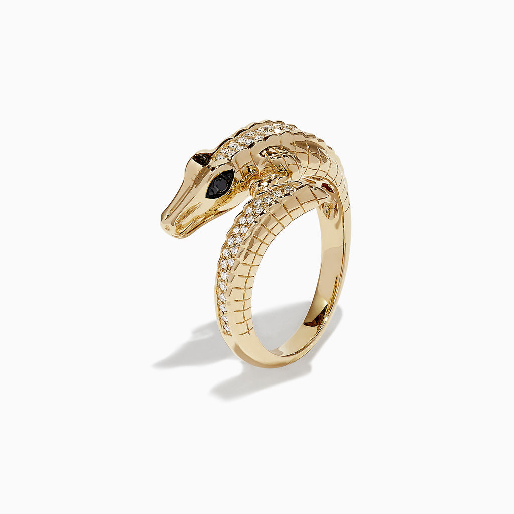 Effy Safari 14K Yellow Gold Diamond Lizard Ring, 0.23 TCW