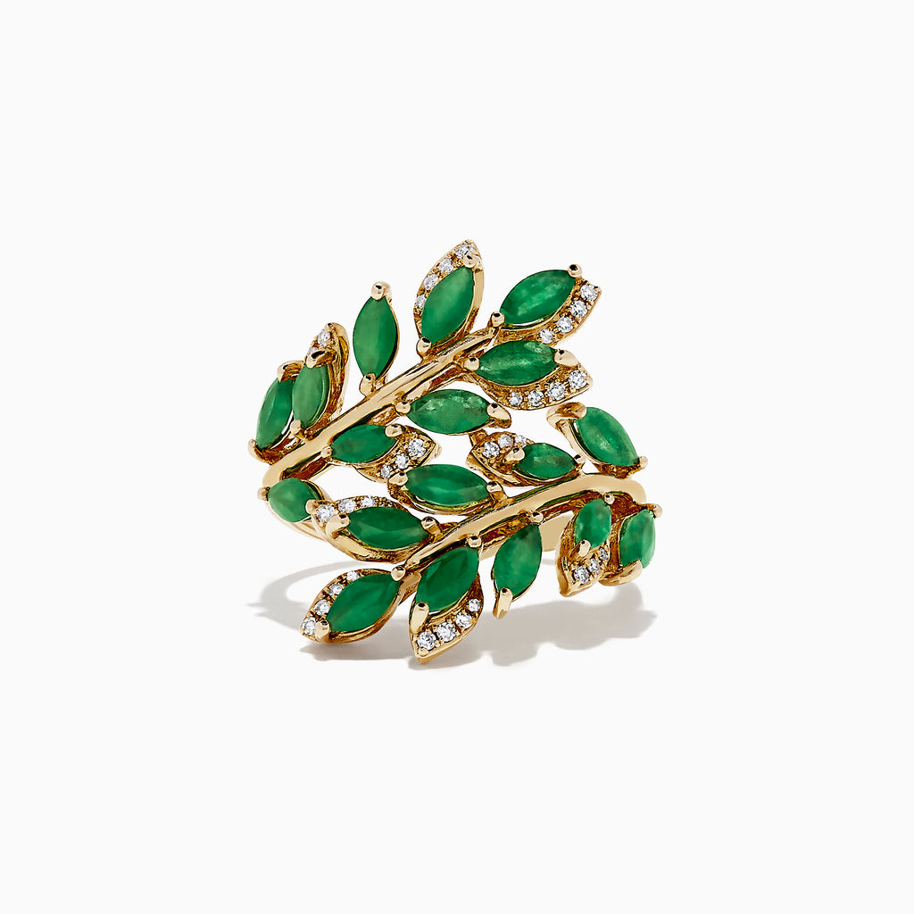 Effy Brasilica 14K Yellow Gold Emerald and Diamond Ring, 2.78 TCW