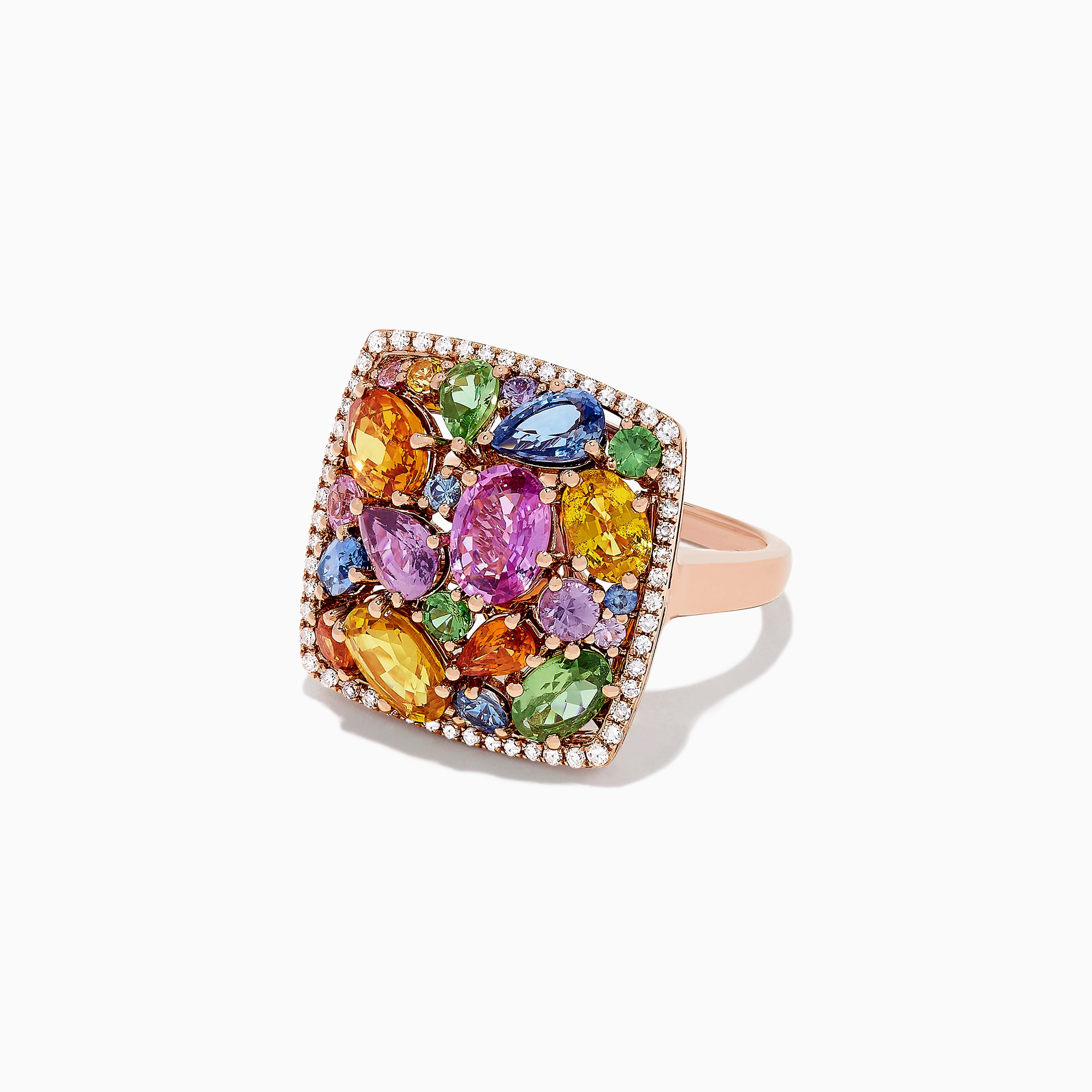 Effy Watercolors 14K Rose Gold Multi Sapphire and Diamond Ring, 7.44 TCW
