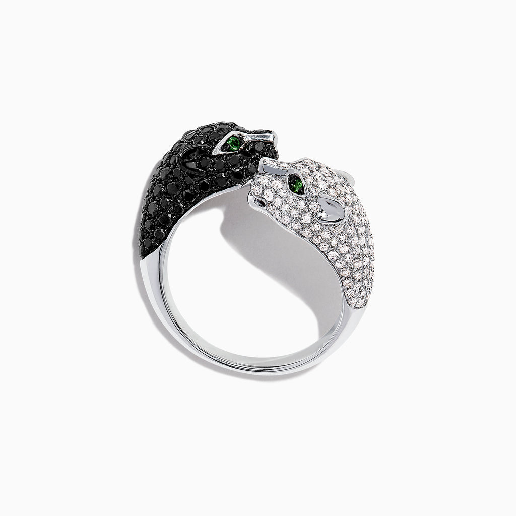 Effy Signature 14K Gold Black & White Diamond Double Panther Ring, 1.49 TCW