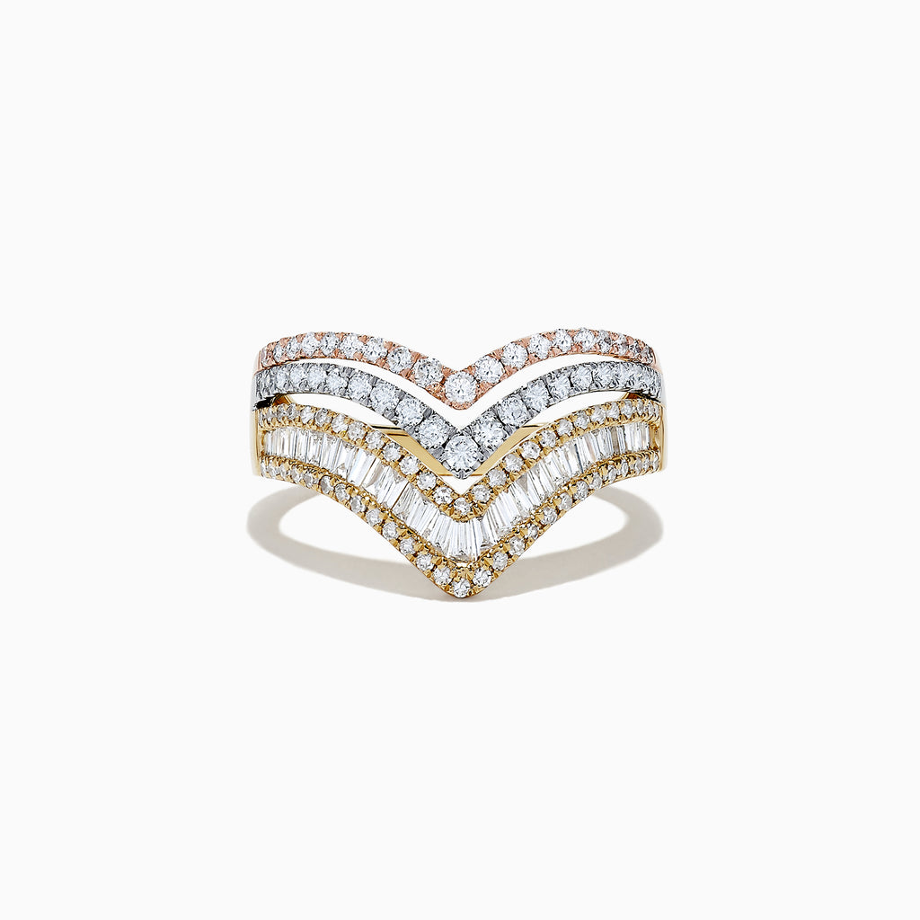 Effy Trio 14K Tri Color Gold Diamond Ring, 0.98 TCW