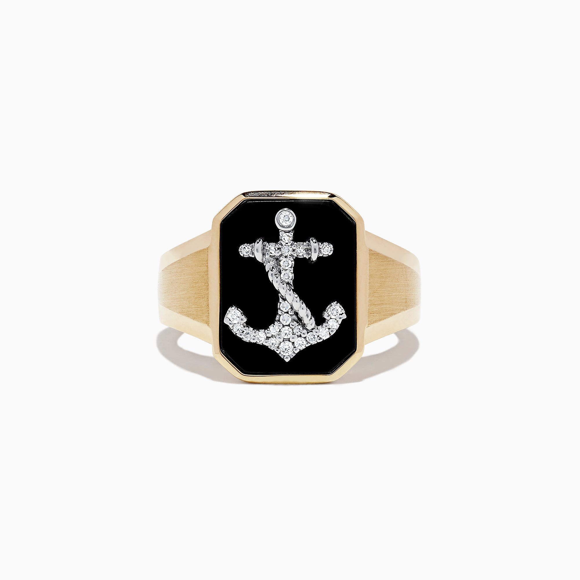 Effy Men's 14K Two Tone Gold Agate and Diamond Anchor Ring, 1.66 TCW