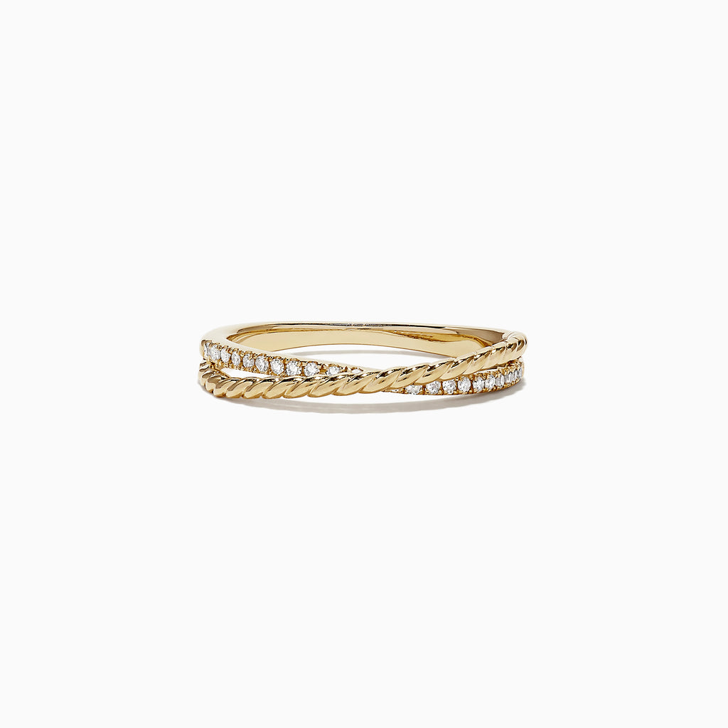 Effy D'Oro 14K Yellow Gold Diamond Cross Over Ring, 0.11 TCW