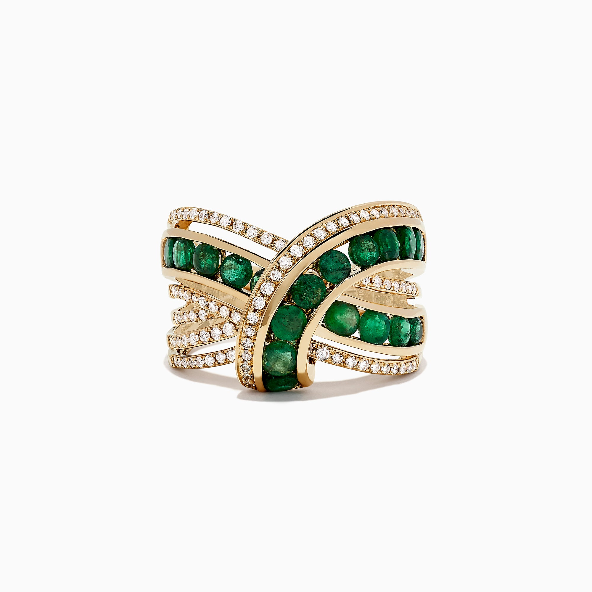 Effy Brasilica 14K Yellow Gold Emerald and Diamond Wrap Ring, 2.22 TCW