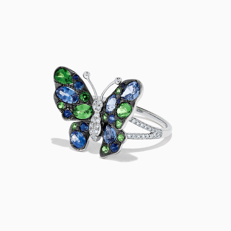 Effy Nature 14K White Gold Sapphire, Tsavorite & Diamond Butterfly Ring, 2.52 TCW