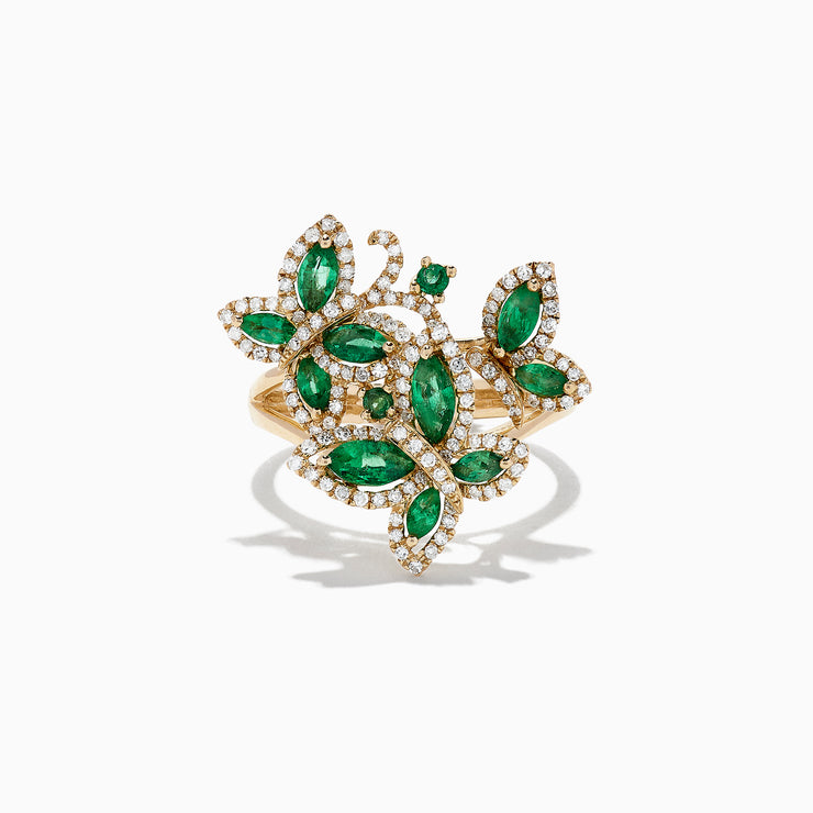 Effy Nature 14K Yellow Gold Emerald and Diamond Buttefly Ring, 2.07 TCW