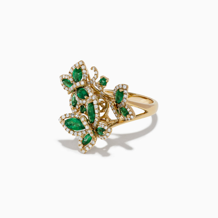 Effy Nature 14K Yellow Gold Emerald and Diamond Butterfly Ring, 2.07 TCW