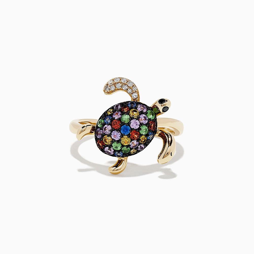 Effy 14k Yellow Gold Multi Sapphire and Diamond turtle ring, 0.85 TCW