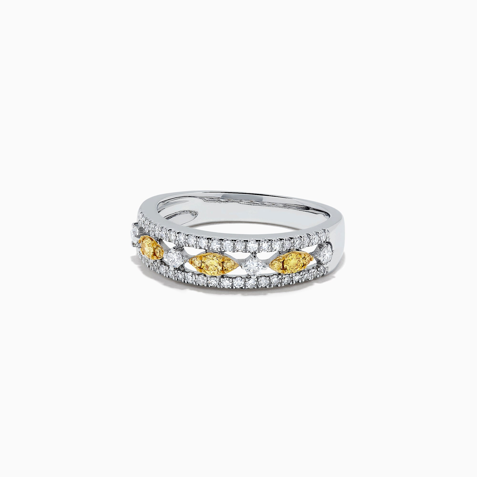 Effy Canare 14K White Gold Yellow and White Diamond Ring, 0.42 TCW