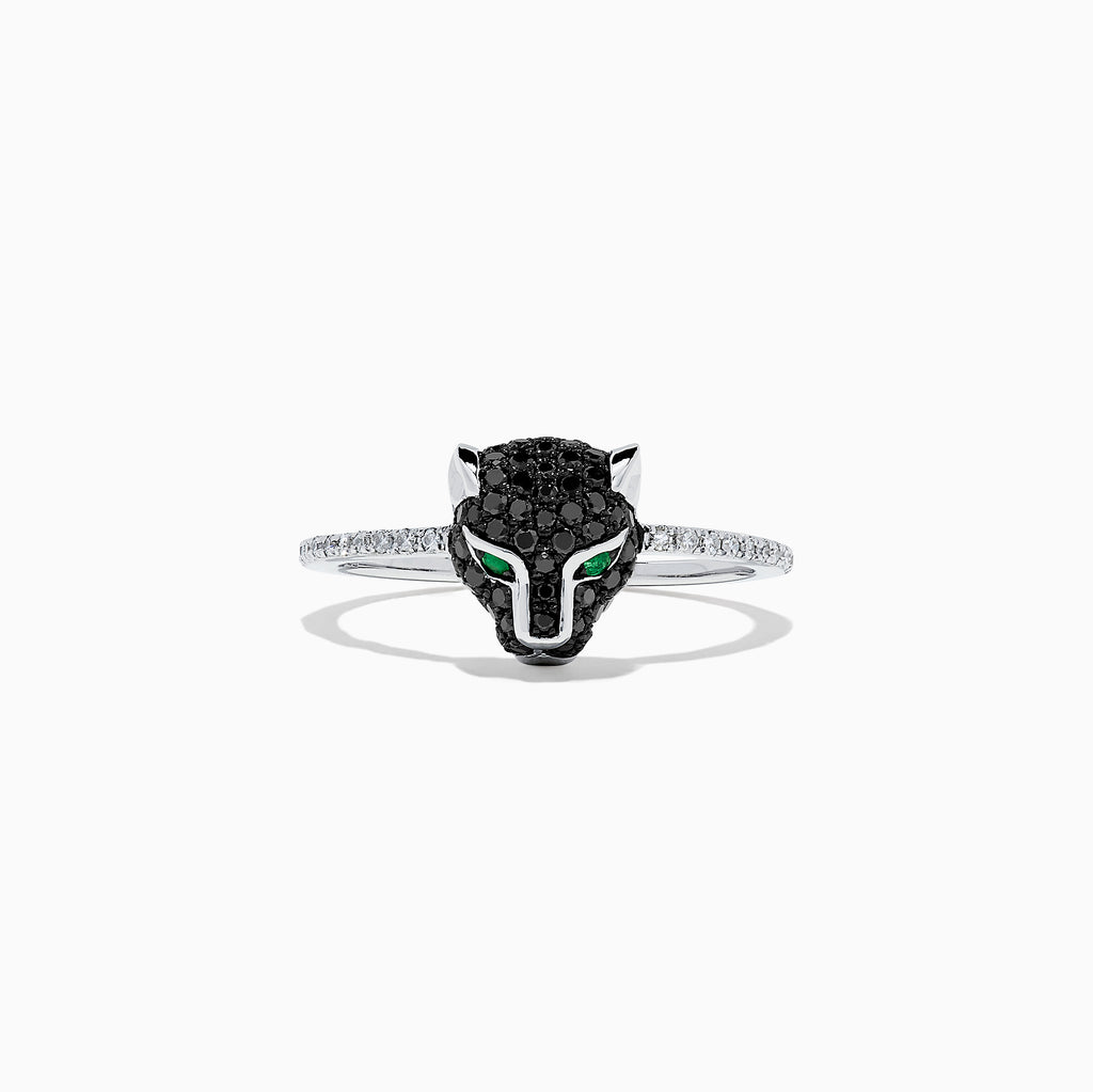 Effy Signature 14K White Gold Black Diamond Mini Panther Ring, 0.39 TCW