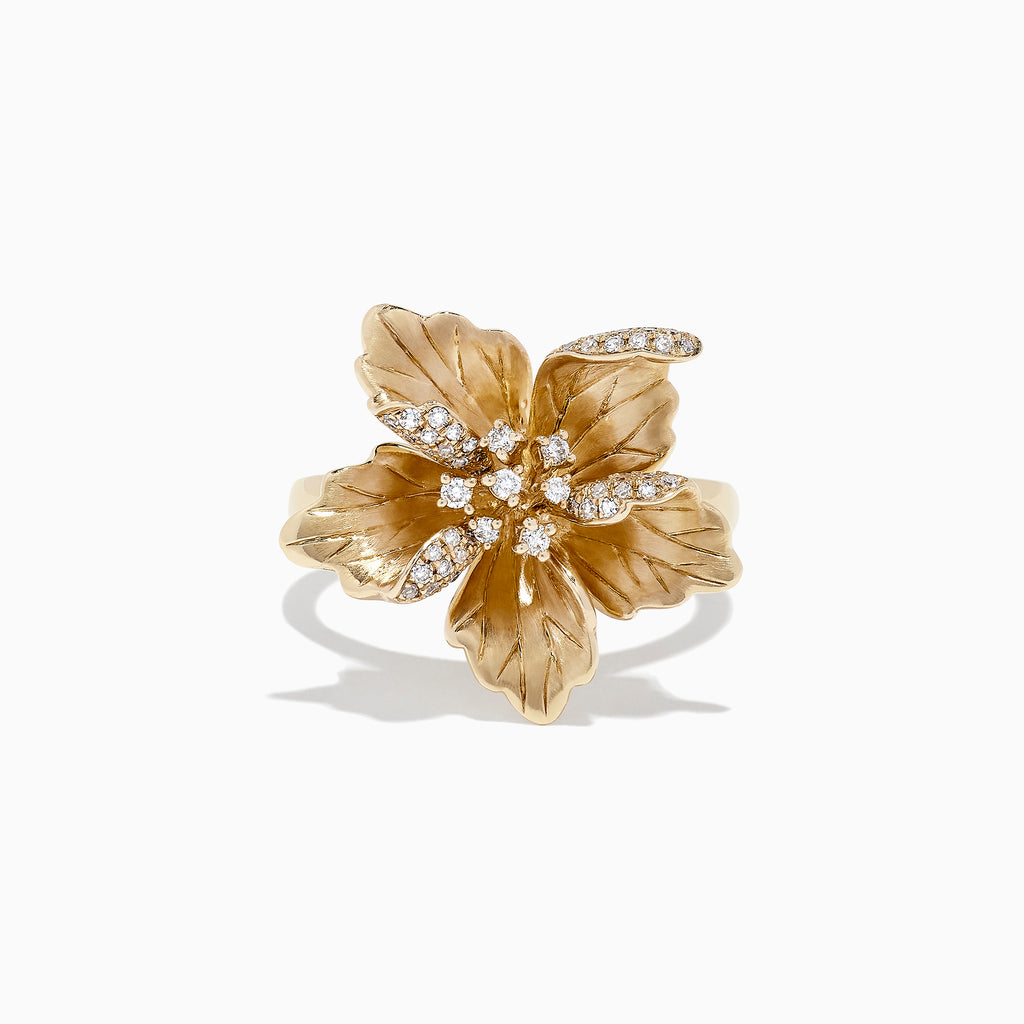 Effy Nature 14K Yellow Gold Diamond Flower Ring, 0.23 TCW