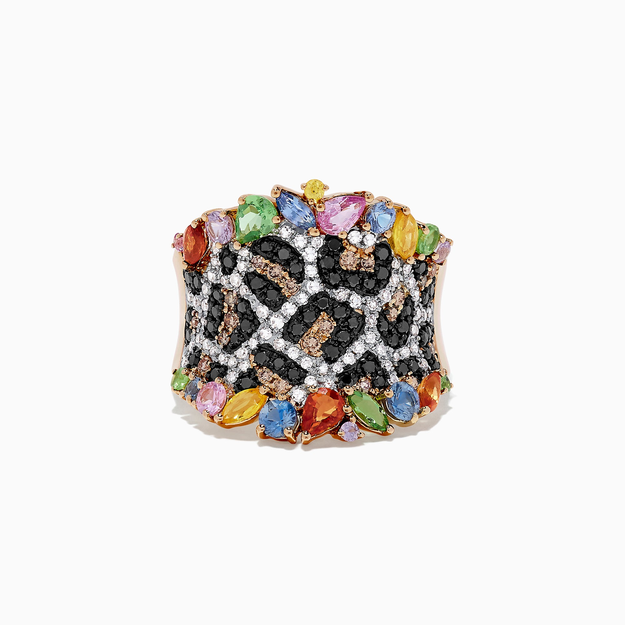 Effy Watercolors 14K Yellow Gold Multi Sapphire and Diamond Ring, 2.80 TCW