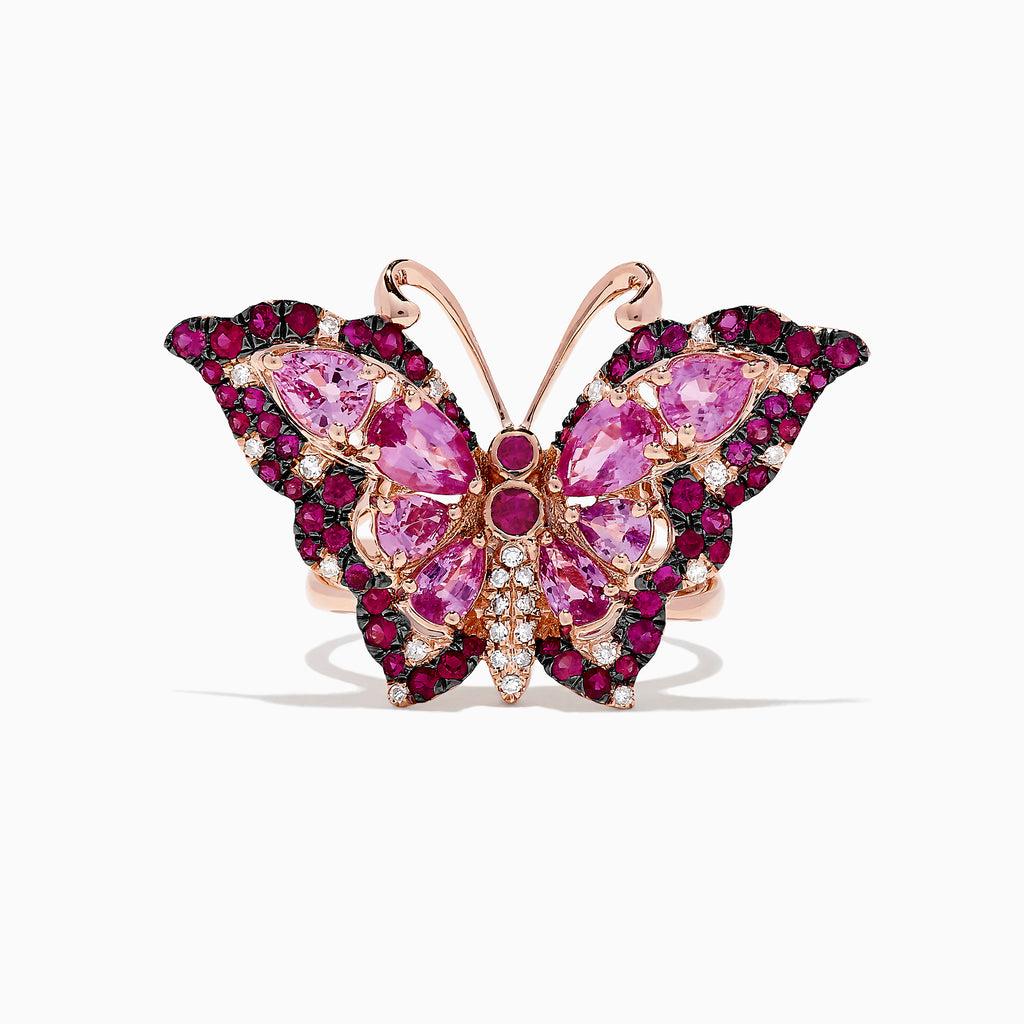 Effy Nature 14K Rose Gold Ruby, Pink Sapphire & Diamond Butterfly Ring, 3.93 TCW