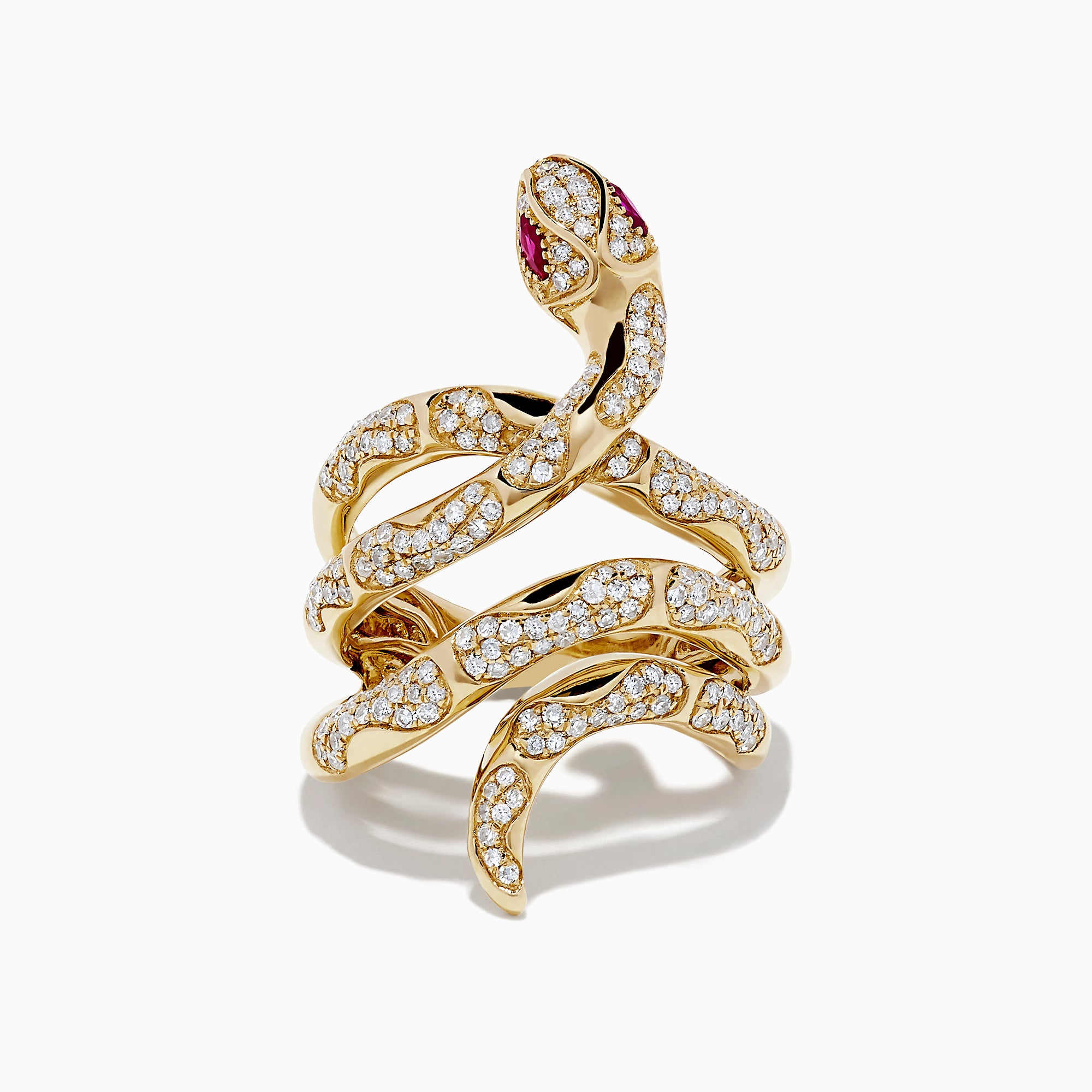 Effy Safari 14K Yellow Gold Diamond and Ruby Snake Ring, 0.89 TCW