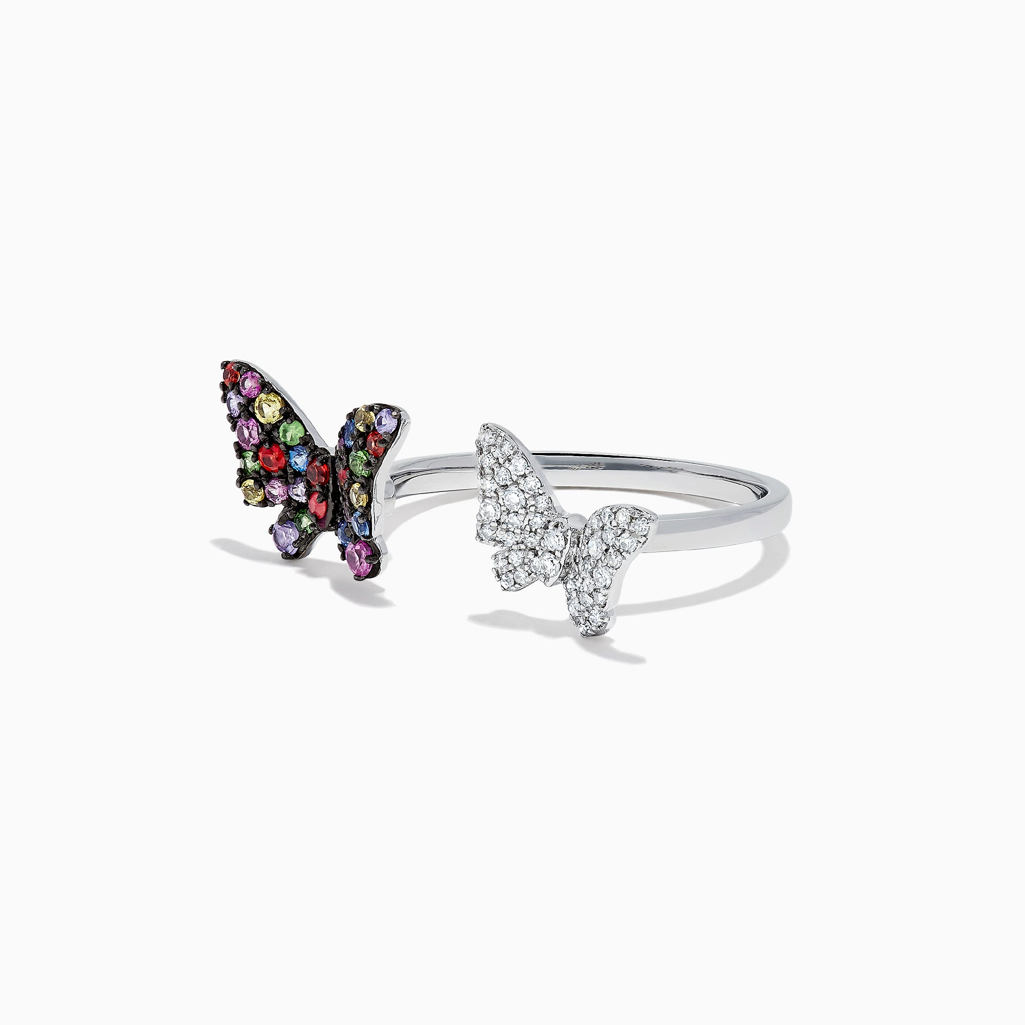 Effy Watercolors 14K White Gold Multi Sapphire & Diamond Butterfly Ring, 0.61 TCW