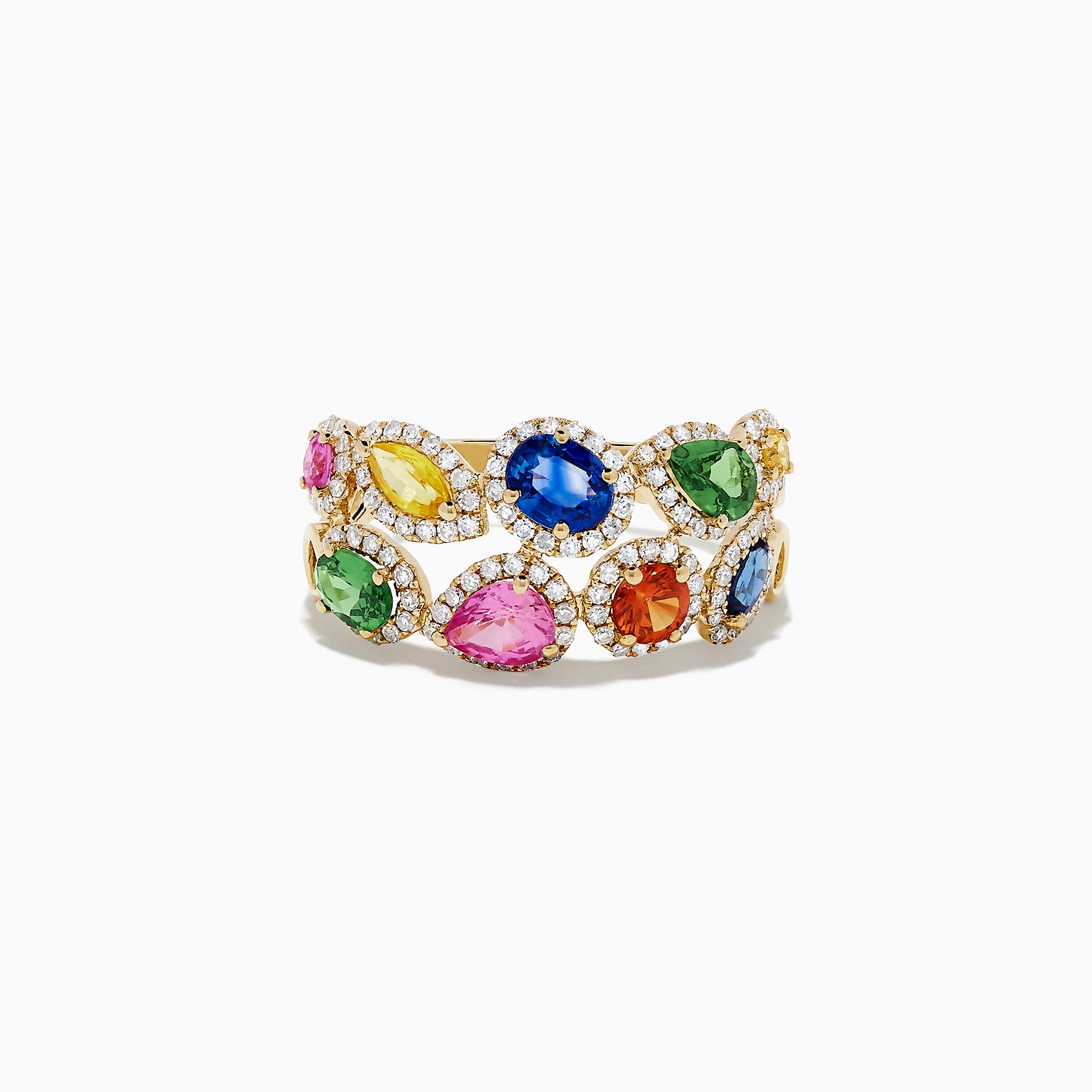 Effy 14K Yellow Gold Multi Sapphire and Diamond Ring, 2.44 TCW