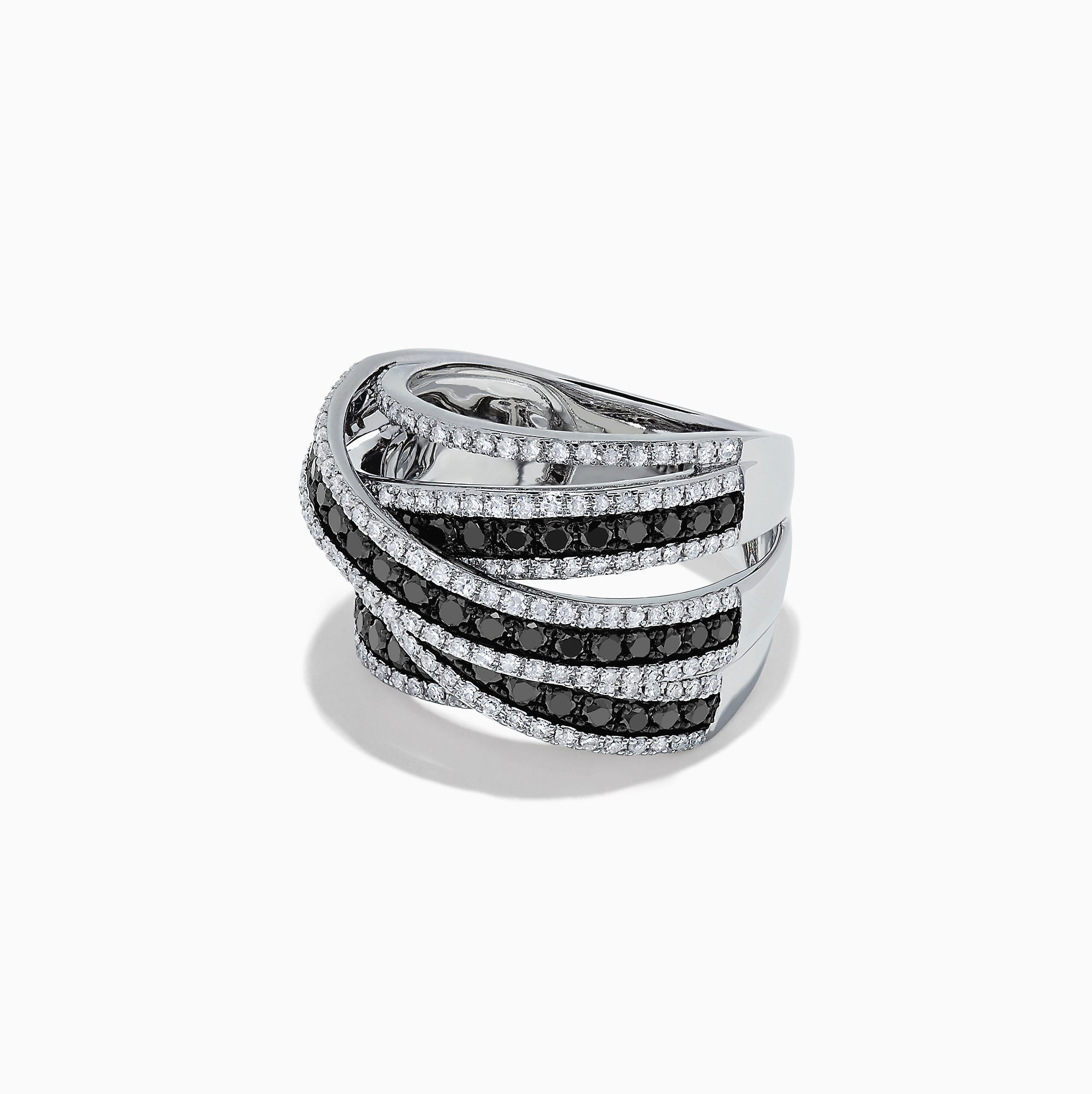 Effy 14K White Gold Black and White Diamond Crossover Ring, 1.80 TCW