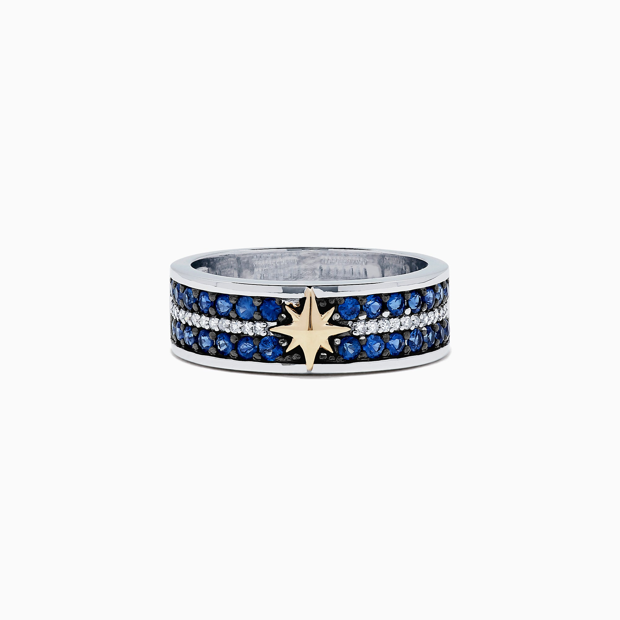Effy Men's 14K Two Tone Gold Sapphire and Diamond Star Ring, 1.18 TCW