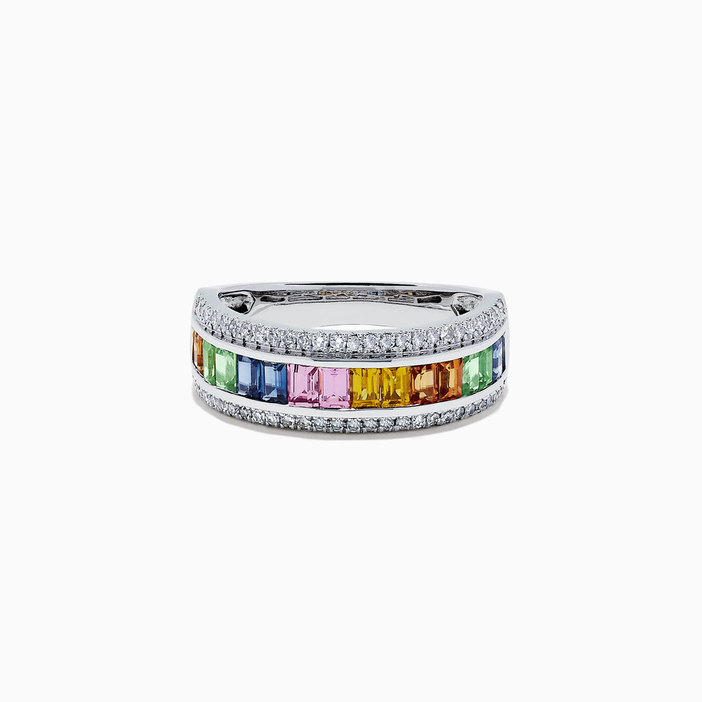 Effy Watercolors 14K White Gold Multi Sapphire and Diamond Ring, 1.69 TCW