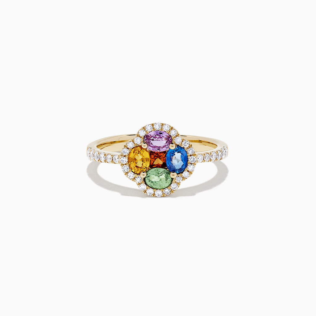 Effy Watercolors 14K Yellow Gold Multi Sapphire and Diamond Ring, 1.35 TCW