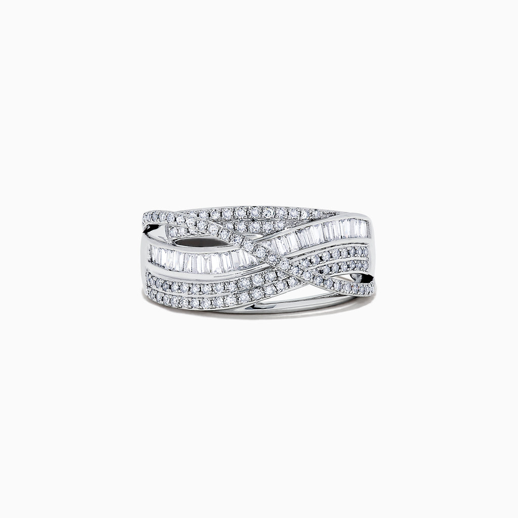 Effy Classique 14K White Gold Diamond Cross Over Ring, 0.77 TCW