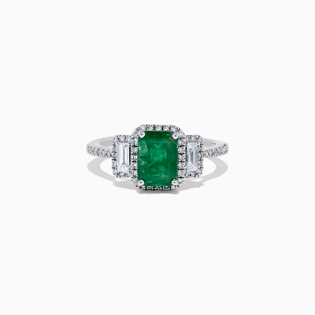 Effy Brasilica 14K White Gold Emerald and Diamond Ring, 1.93 TCW