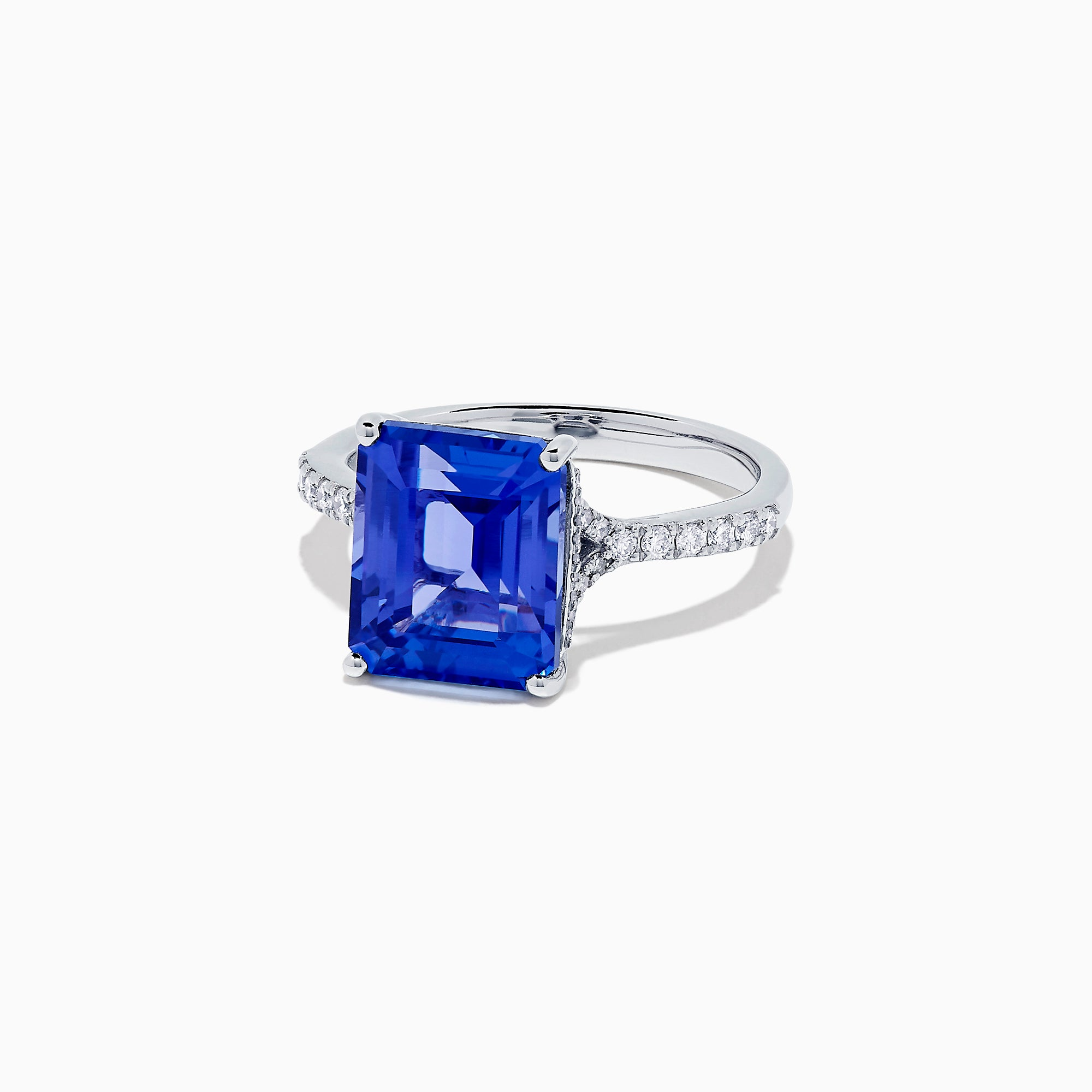 Effy Tanzanite Royale 14K White Gold Tanzanite and Diamond Ring, 4.97 TCW
