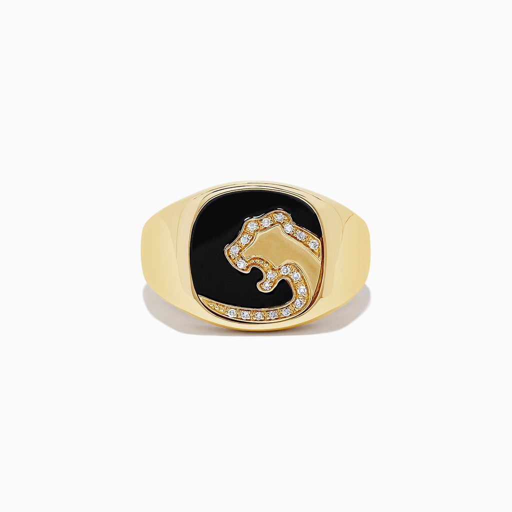 Effy Men's 14K Gold Onyx and Diamond Panther Silhouette Ring, 1.02 TCW