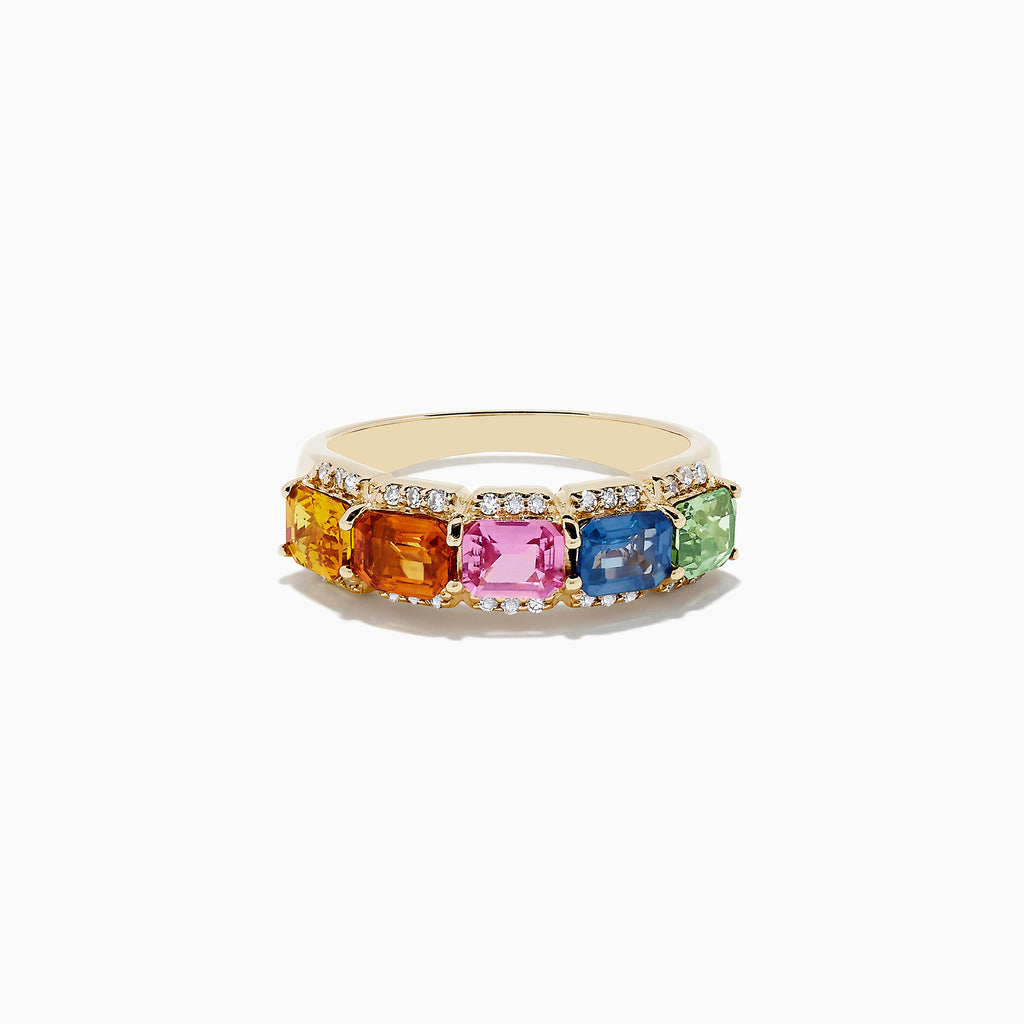 Effy Watercolors 14K Yellow Gold Multi Sapphire and Diamond Ring, 2.59 TCW