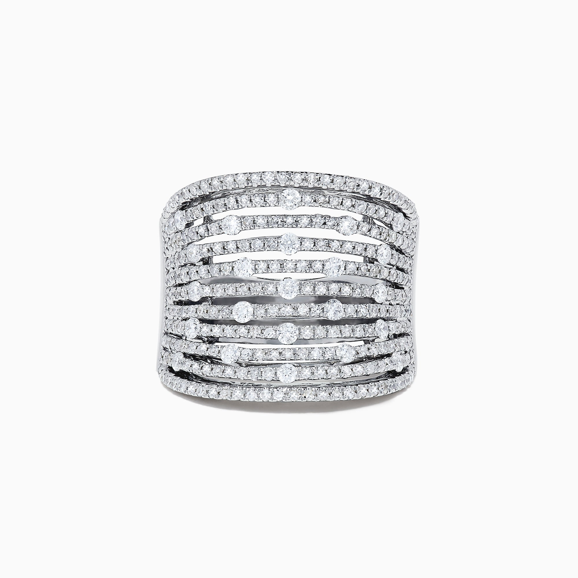 Effy 14K White Gold Diamond Wide Band Ring, 1.34 TCW