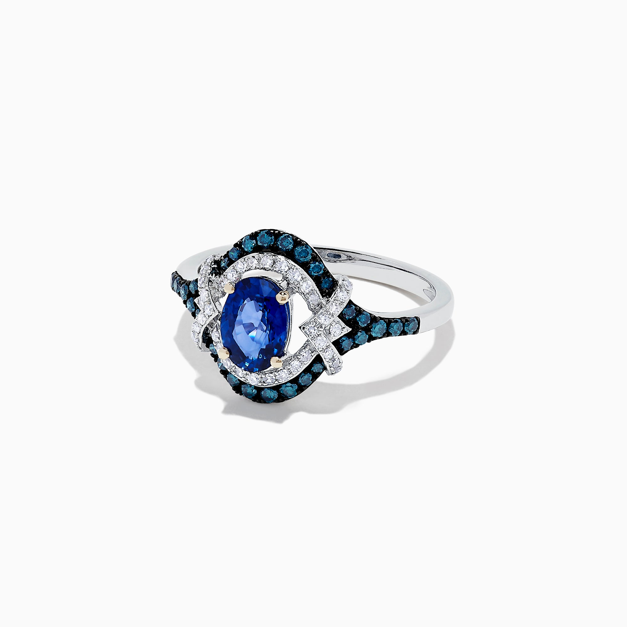 Effy 14K White Gold Blue Sapphire, Blue and White Diamond Ring, 1.34 TCW