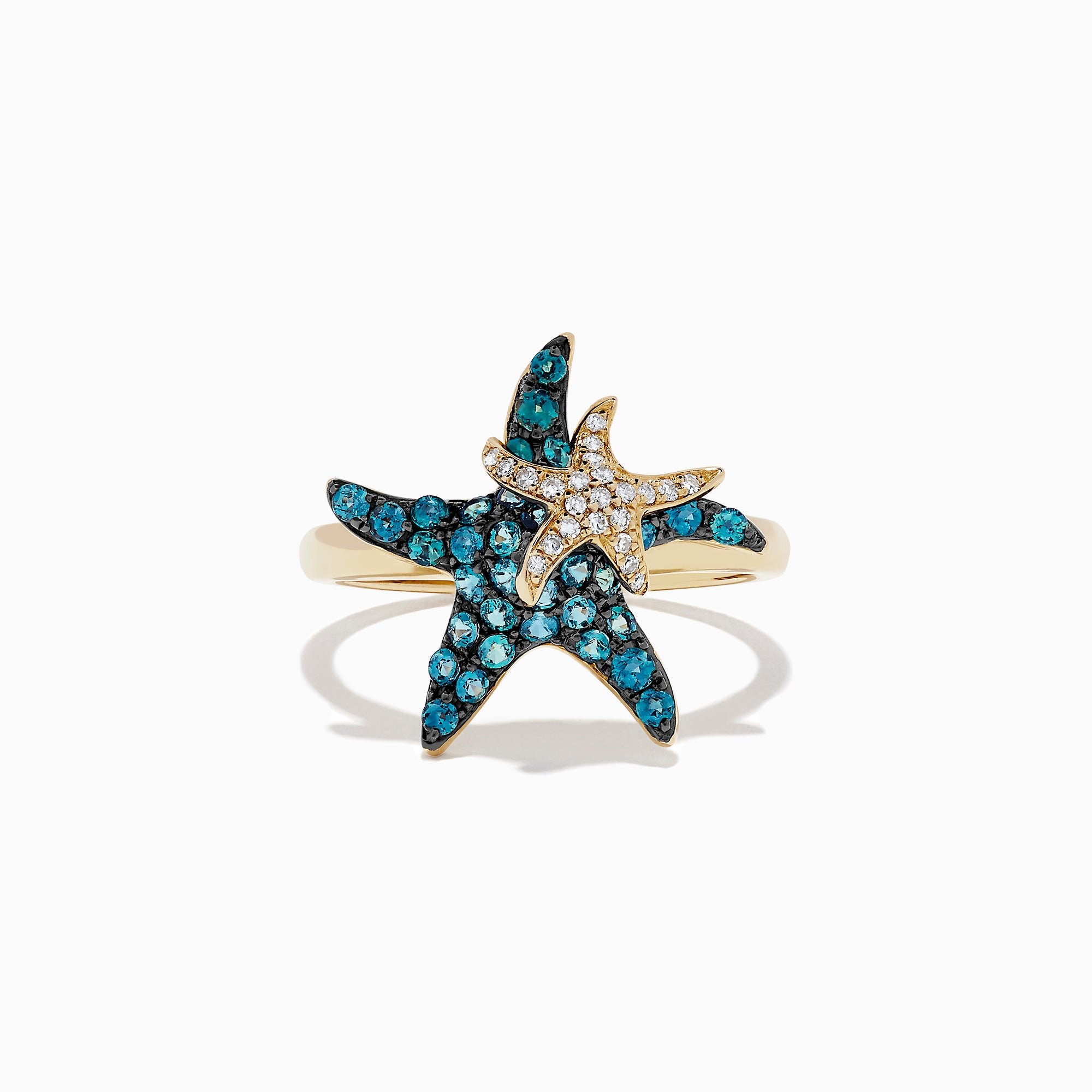 Effy Seaside 14K Gold Alexandrite and Diamond Starfish Ring, 0.95 TCW