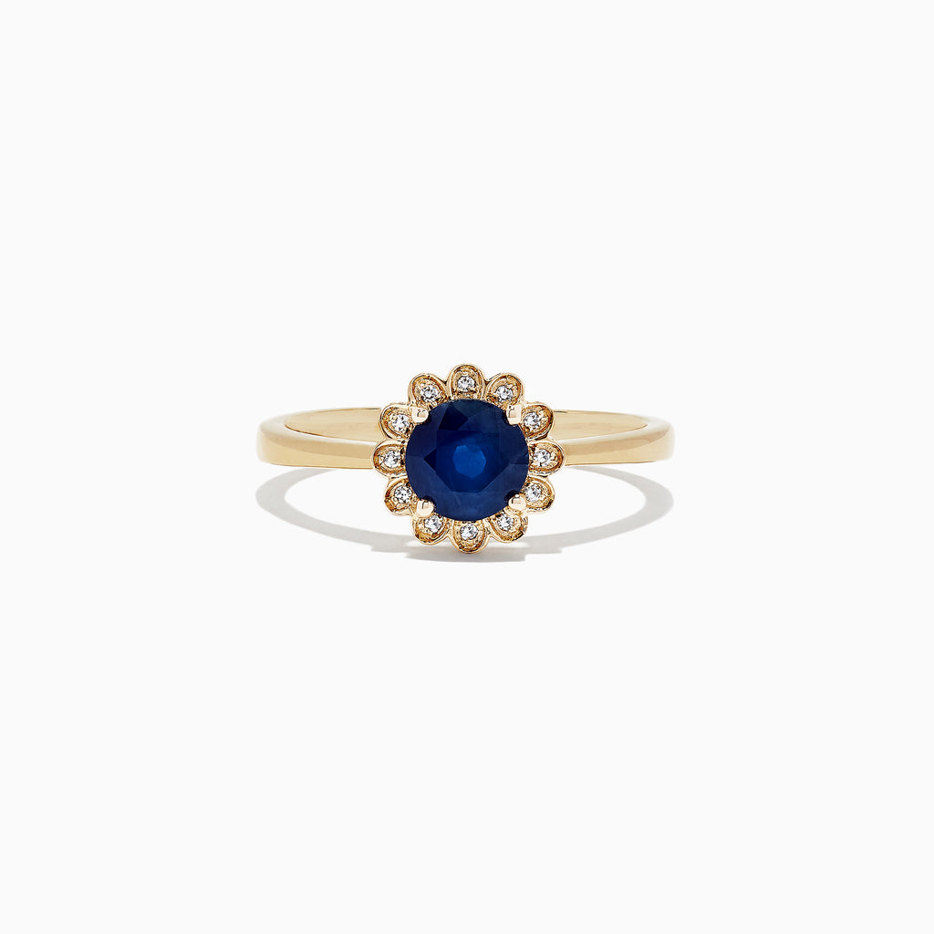 Effy Royale Bleu 14K Yellow Gold Sapphire and Diamond Flower Ring, 1.05 TCW