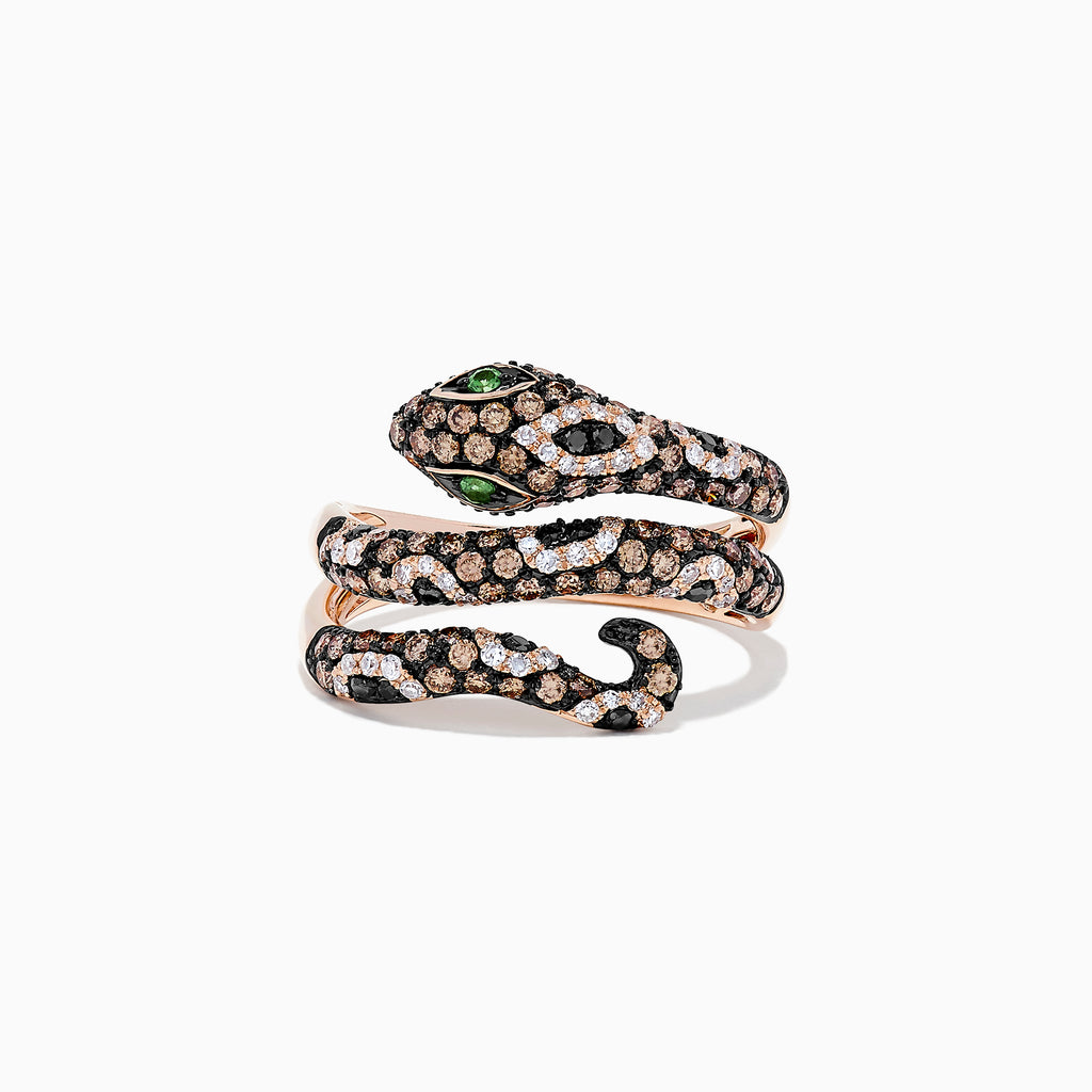 Effy Safari 14K Rose Gold Diamond and Tsavorite Snake Ring, 1.05 TCW