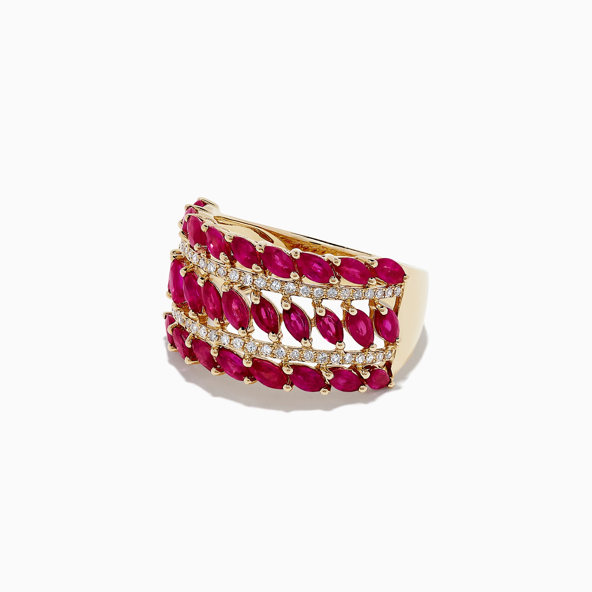 Effy 14K Yellow Gold Ruby and Diamond Ring, 2.96 TCW