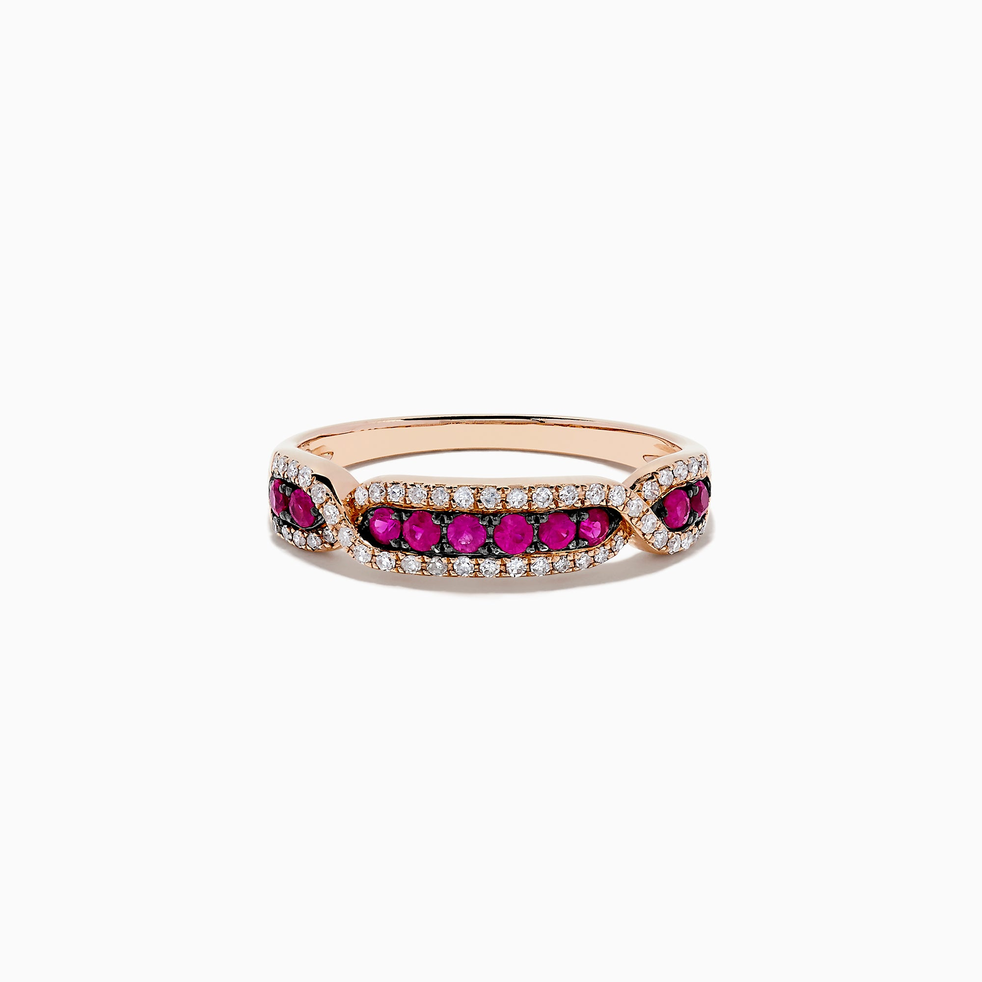 Effy Ruby Royale 14K Rose Gold Ruby and Diamond Ring, 0.44 TCW
