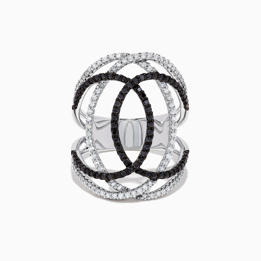 Effy 14K White Gold Black and White Diamond Ring, 0.73 TCW