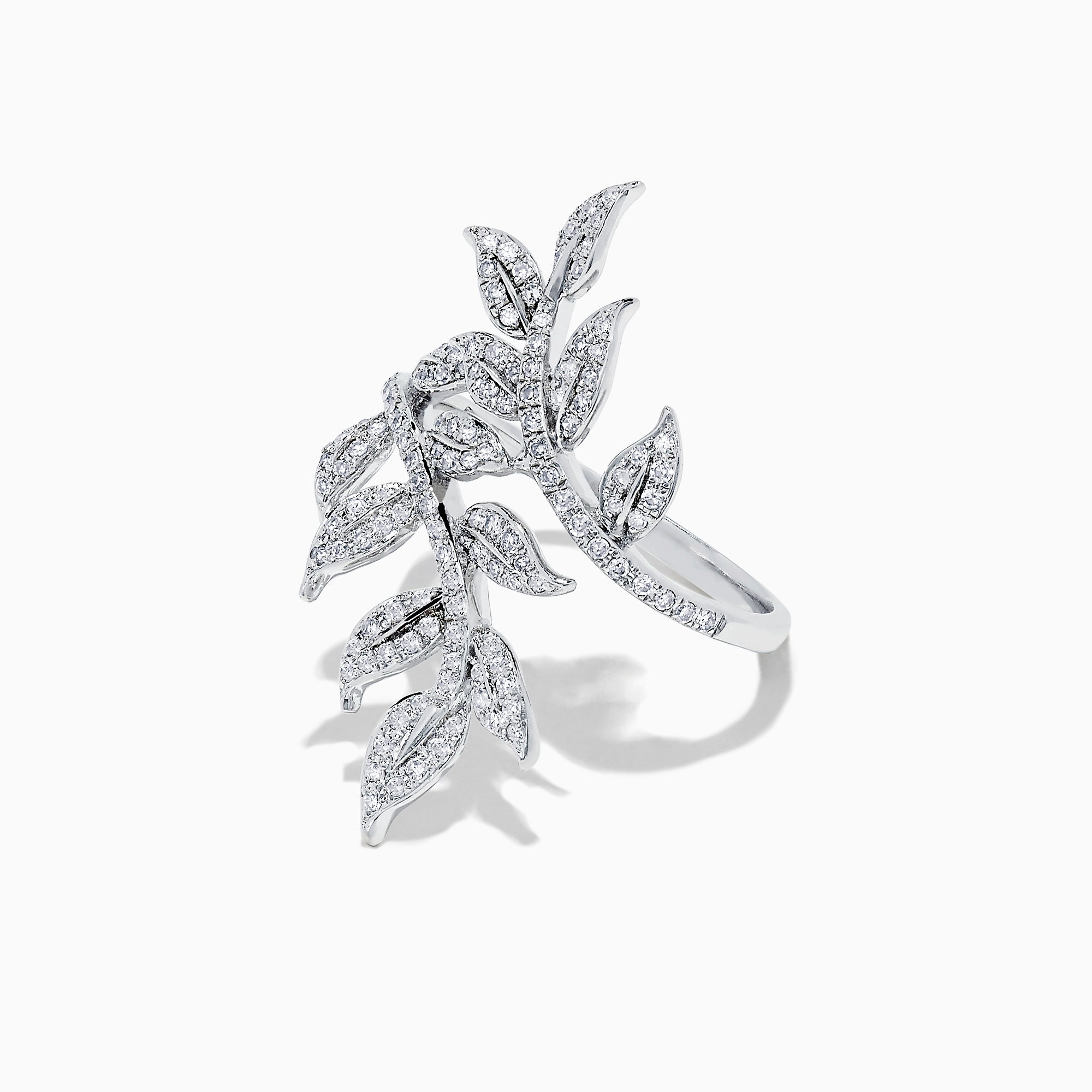 Effy 14K White Gold Diamond Leaf Ring, 0.50 TCW