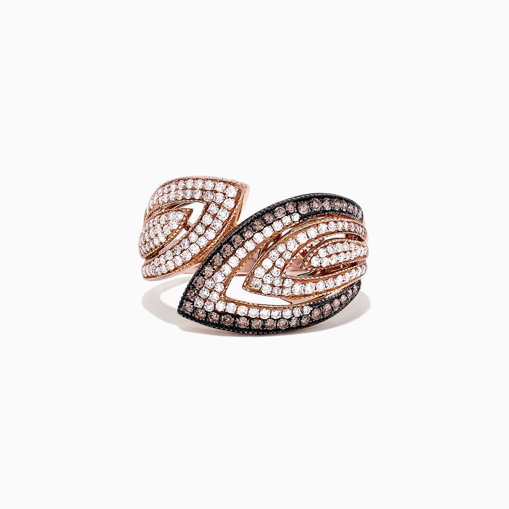 b43d9bd5c Effy 14K Rose Gold Espresso and White Diamond Ring, 0.73 TCW