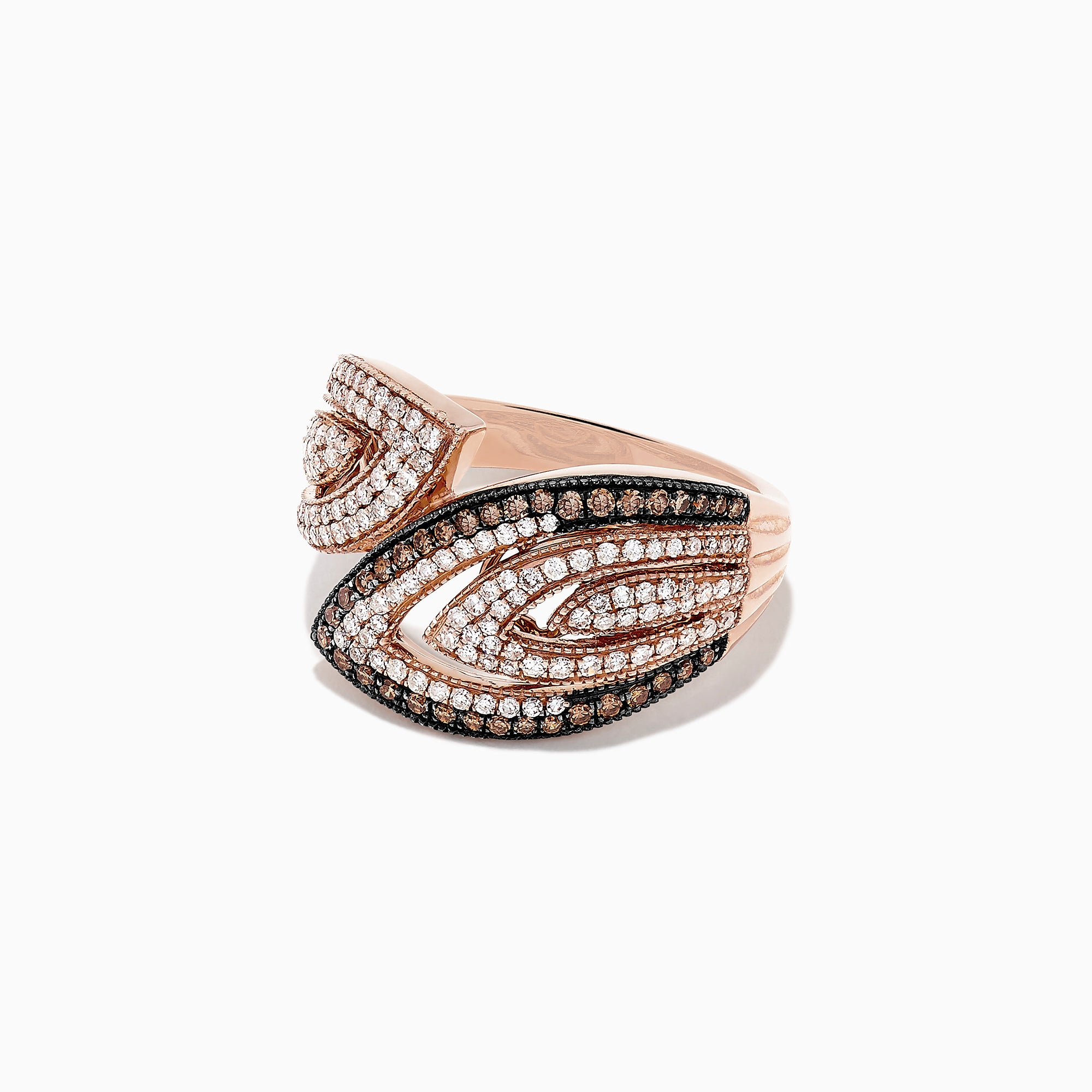 Effy 14K Rose Gold Espresso and White Diamond Ring, 0.73 TCW
