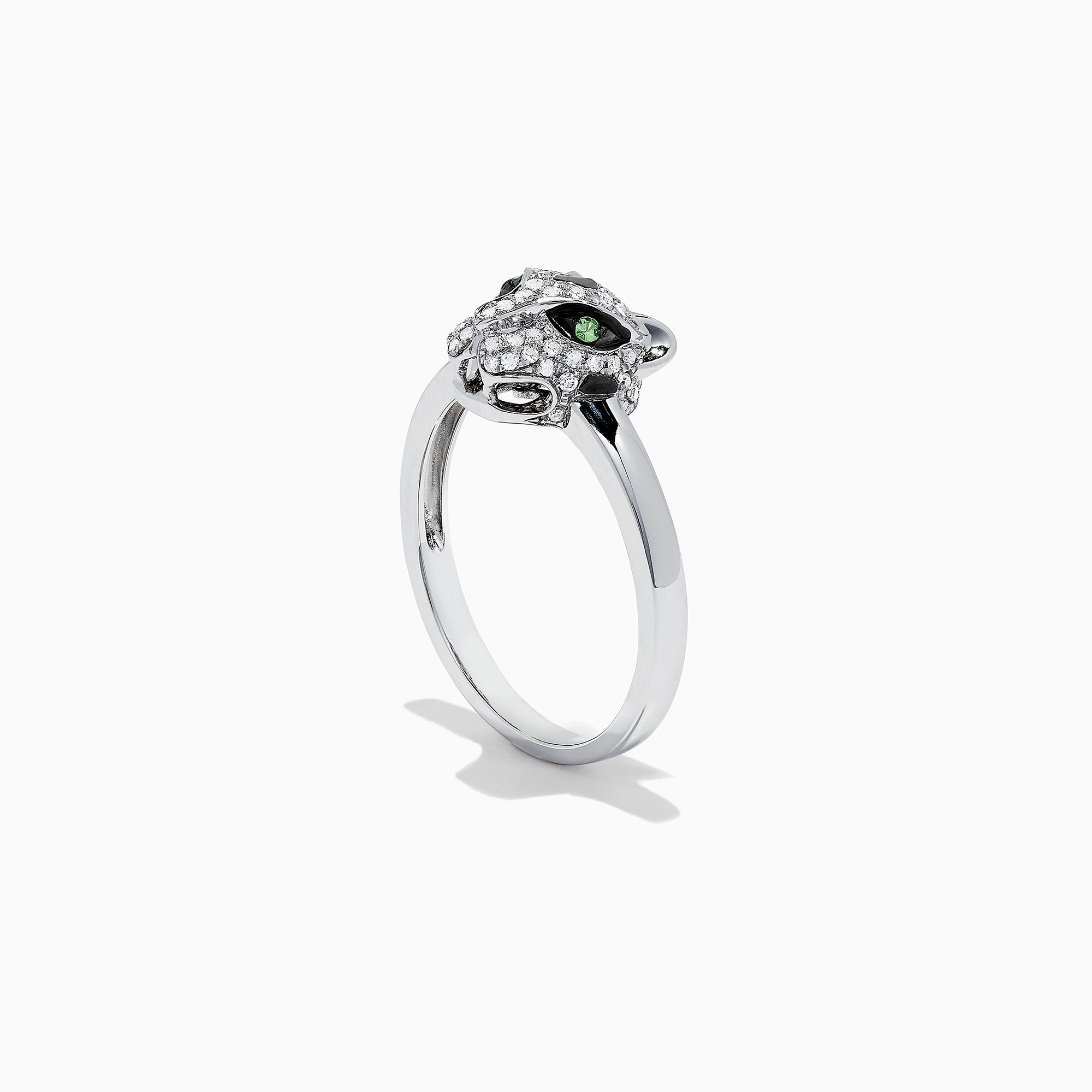 Effy Signature 14K White Gold Diamond and Tsavorite Panther Ring, 0.25 TCW