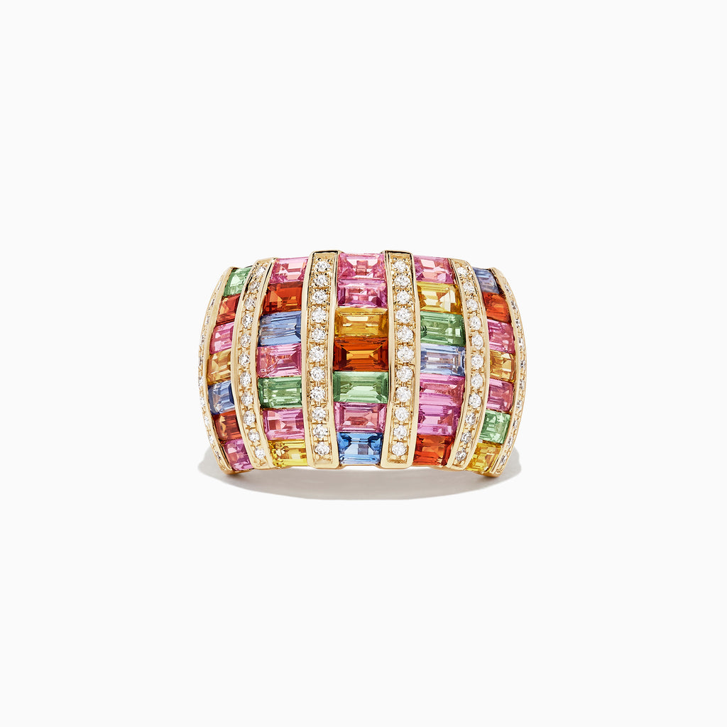 Effy Watercolors 14K Yellow Gold Multi Sapphire & Diamond Ring, 4.48 TCW