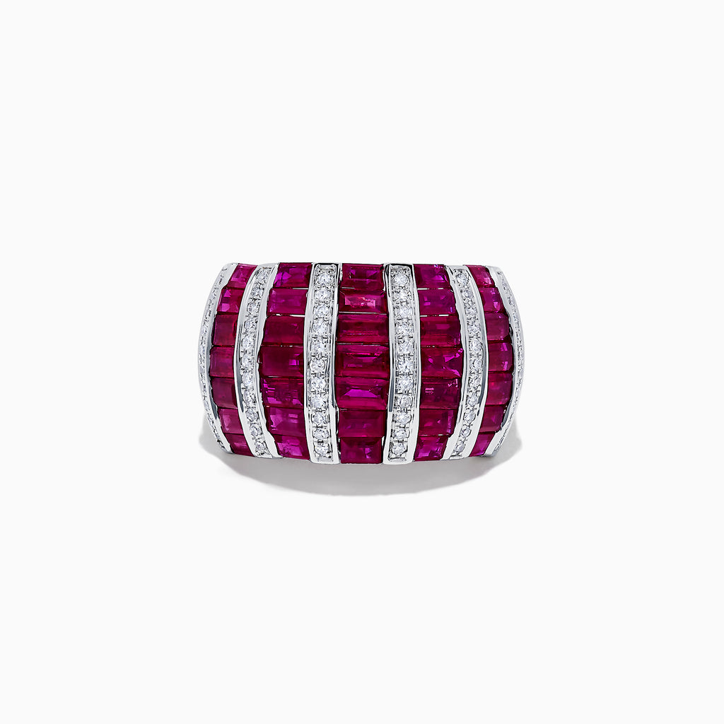 Effy Ruby Royale 14 Karat White Gold Ruby and Diamond Ring, 4.32 TCW